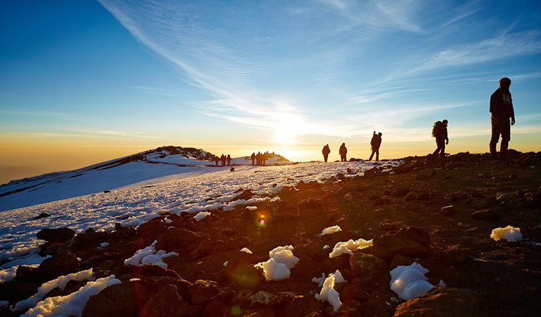 Hikers climbing Mount Kilimanjaro route to the summit