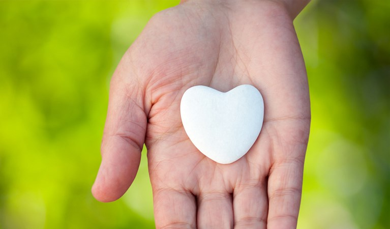 A plastic heart in the palm of someone's hand