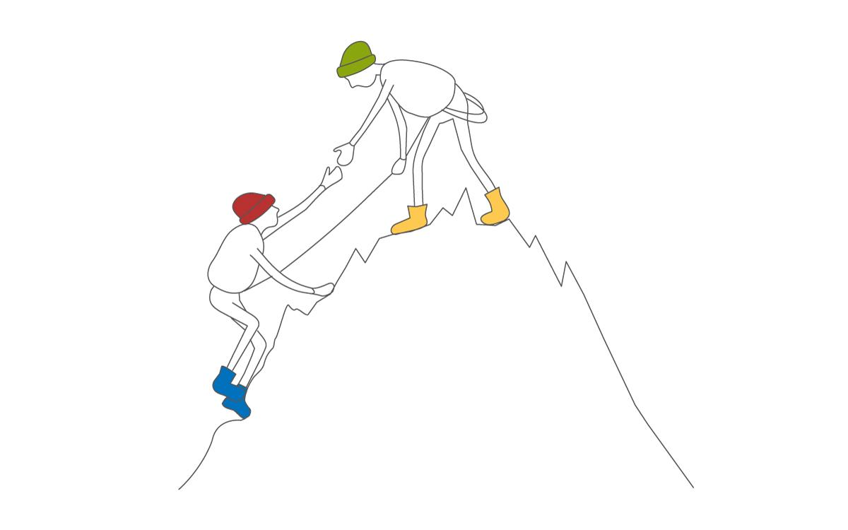Insights illustrazioni escursionisti arrampicata su una montagna