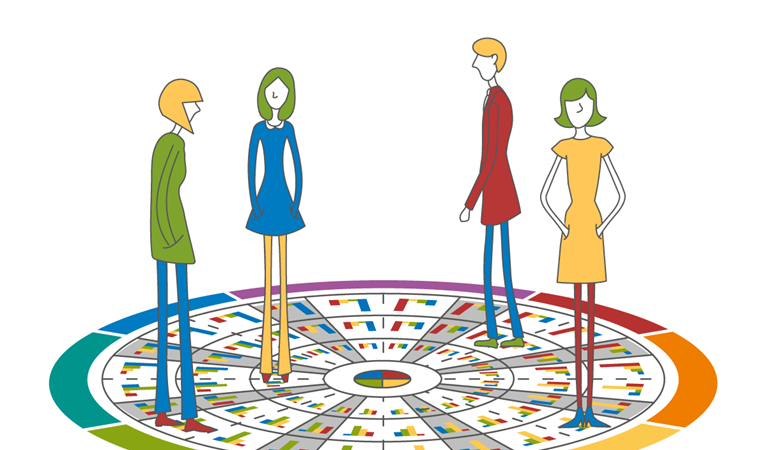 Illustration of four people standing on a wheel mat