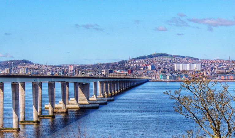 Looking over the River Tay with Dundee in the background.