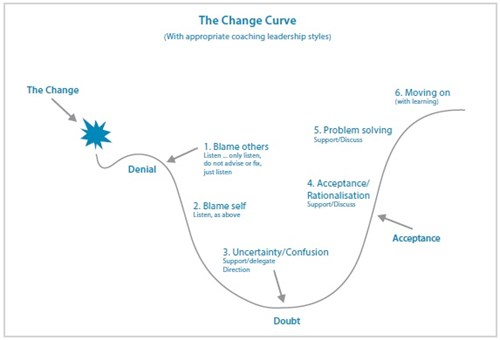 line graph outlining six steps of the change curve | Insights