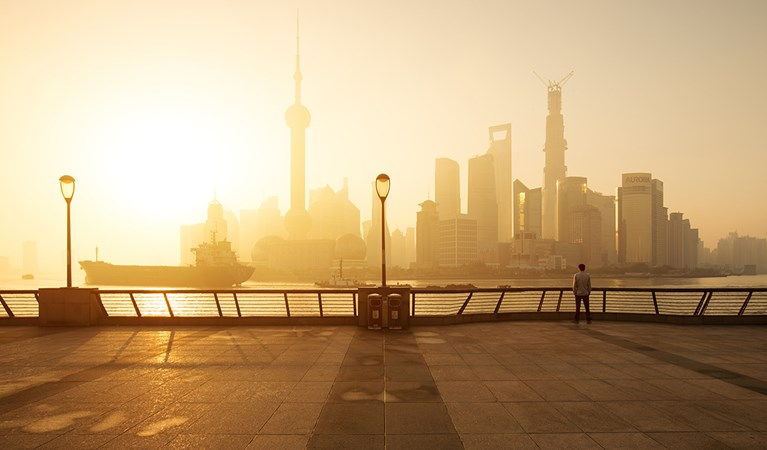 Shanghai sunrise with skyline from Pudong
