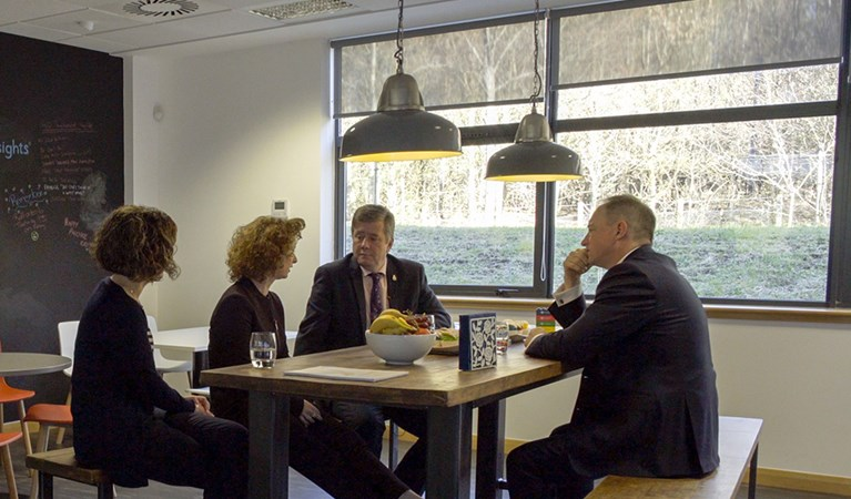 Scottish Government Economy Secretary Keith Brown visits Insights' new office.